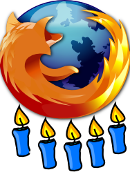 Firefox 5th birthday logo